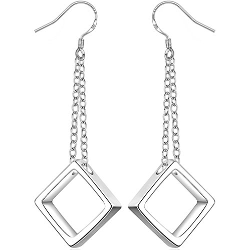 BLOOMCHARM Share Love Square Stud Fashion Dangle Drop Long Earrings Jewelry, Best Gifts for Women Girls