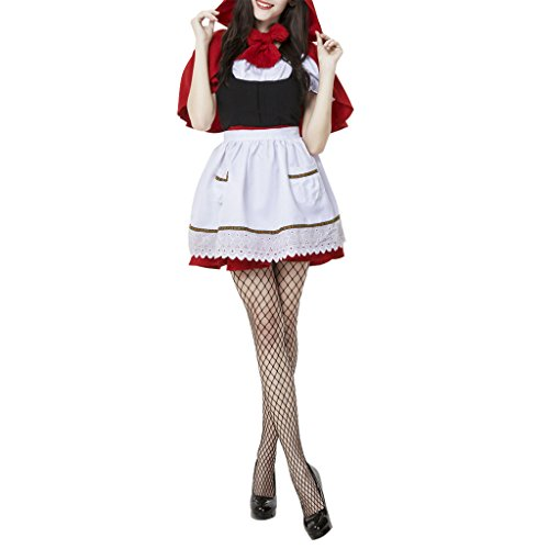 ShangYi Womens Halloween Little Red Riding Hood Maid Outfit Black Red White L (Little Red Riding Hood Cosplay)