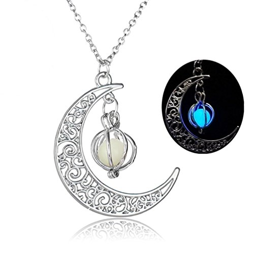 Moon shape Luminous Necklace Pumpkin Pendants Halloween Clavicle Chain by TOPUNDER