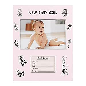SILVER AND PINK BABY GIRL RECORD FRAME - Picture Frame