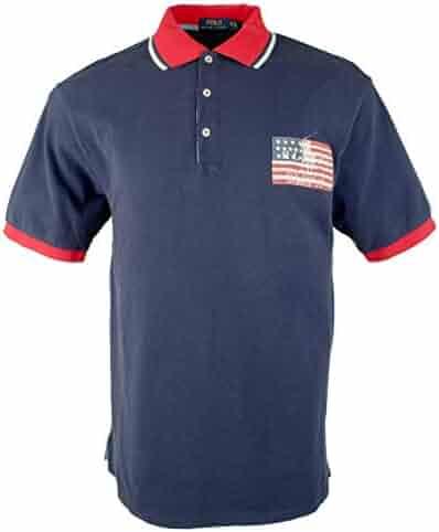 84db11544 Polo Ralph Lauren Men's Big Tall Classic Fit Mesh Americana Pony Flag Polo  Shirt
