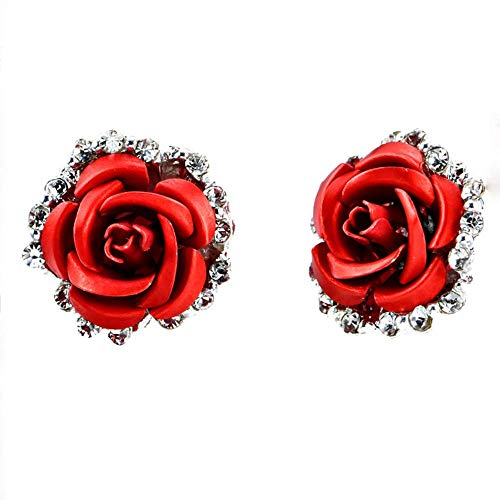 TULIP LY Red Rose Flower Stud Earrings Silver Plated Simulated Coral Rose Crystal Earrings Lovely Simple Floral Charm Stud Earring Fashion Jewelry for Women Girl -