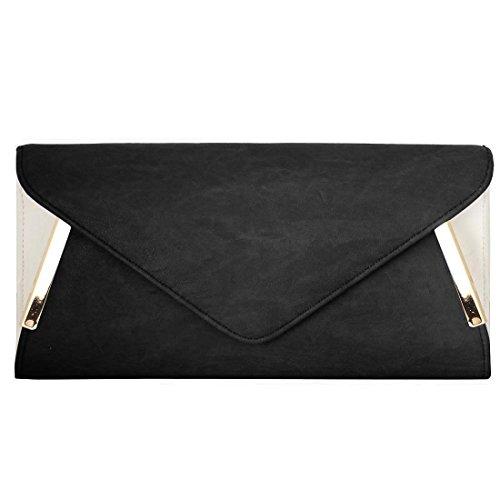 bmc-womens-pu-leather-envelope-flap-metal-white-accent-fashion-clutch-handbag