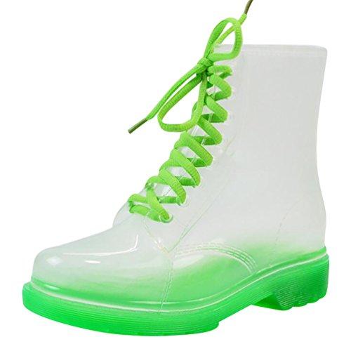 LvRao Mujer Boots de Goma de Lluvia Nieve Calentar Botas de Tobillo Transparente Impermeable Bota Corto con Cordones de Zapatos Verde