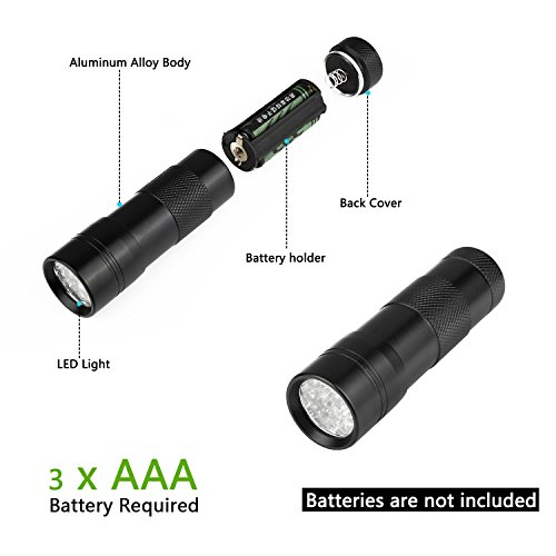 Findway 5 UV Ultra Violet Blacklight 9 LED Flashlight Torch Light Outdoors
