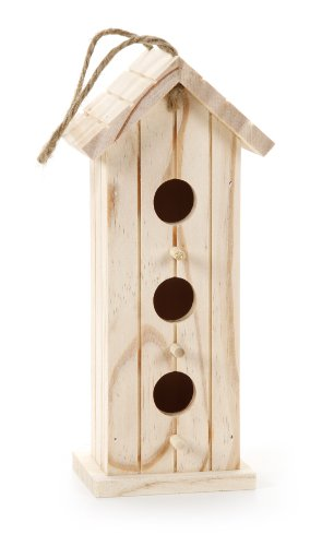 Darice 9149-21 Unfinished Wood Natural Bird House, 9-Inch (Bird Unfinished Wood)