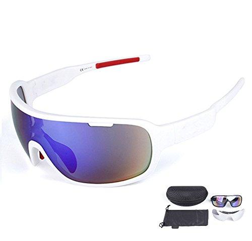 Lorsoul Polarized Sports Cycling Sunglasses Bike Glasses for Men Women Running Driving Fishing Golf Baseball Racing Ski Goggles (White) (Goggles Ski For Sunglasses Women)