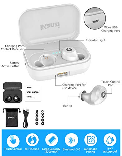 599938d8820 [Updated Version] Wireless Earbuds Bluetooth Headphones IKANZI iPX7  Waterproof 72H Cycle Play Time,