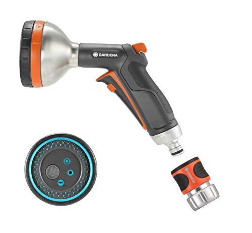 Gardena 3817M-FP Frost Proof-Premium Metal Multi Sprayer Nozzle, 5 Spray Patterns+Water Stop - Pattern Water Spray