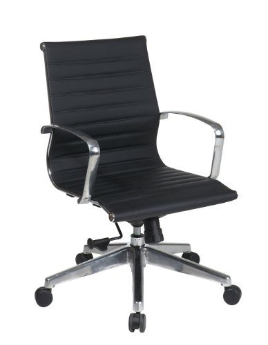 (Office Star Mid Back Eco Leather Seat and Back, Locking Tilt Control and Polished Aluminum Arms and Base Executive Chair, Black)