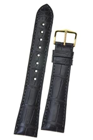 Hirsch London L - Alligator Skin in schwarz - 19 mm - Gold Schnalle