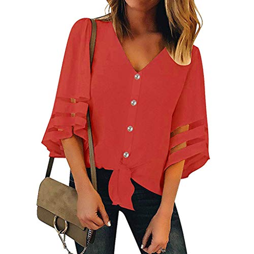 Pongfunsy Women's Summer Tops, Women's 3/4 Bell Sleeve Shirt Loose Casual Mesh Panel Blouse Trendy Patchwork Top 2019 (XL, Red10) ()