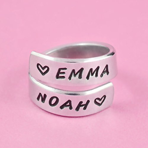 Lovers Name Ring - Hand Stamped Aluminum Spiral Wrap Ring, Valentines Custom Ring, Personalized Couples Friends Ring, Girlfriend Boyfriend Name With Heart, Mom Daughter Children Kids Mother's Day Gift