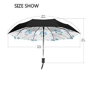 aideess exterior negro paraguas–carcasa Unicorn Seamless Patrón UV anti ligero sombrilla elegante reverso 3plegable gota resistente paraguas Regalos especiales para negocios y personal