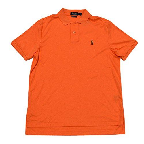 Polo Ralph Lauren Mens Pima Soft Touch Interlock Short Sleeve Polo Shirt (L, Light - Orange Lauren Ralph Polo
