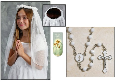 Girls First Holy Communion Wreath Veil, White Rosary and Memories First Communion Magnetic Bookmark