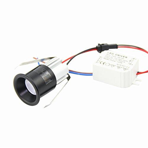 Pack of 10 3W Mini LED Recessed Ceiling Spot Light Black kit for Cree LED 3000K + DC12V Driver Open Hole 28mm