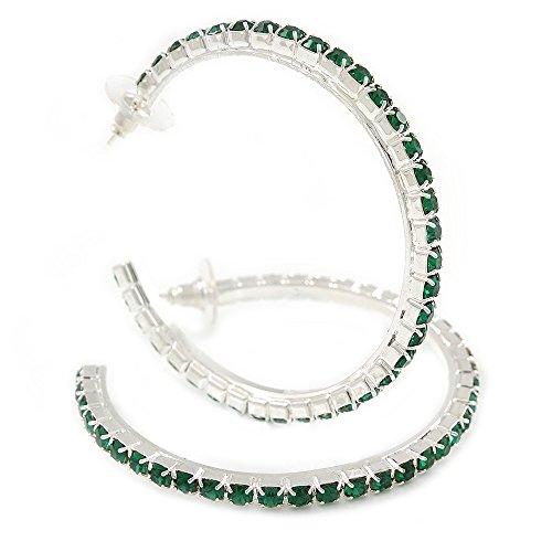 Large Emerald Green Austrian Crystal Hoop Earrings In Rhodium Plating - 6cm D ()