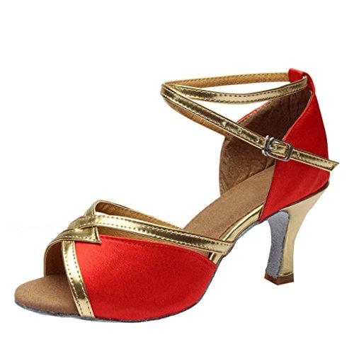 Optimale Dames T-strap Glitter Salsa Tango Satijnen Latin Dansschoenen Rood