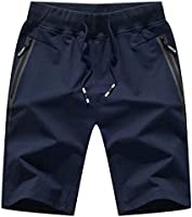"Outmovern Mens 7"" Inseam Workout Shorts Elastic Waist Drawstring Summer Casual Short Pants Zipper Pockets"