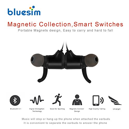 Bluesim Bluetooth Headphones with Microphone - 4.1 Wireless Bluetooth Earbuds for Running, Super Magnetic Neckband Earphones Noise Cancelling Bluetooth Headphones by Bluesim (Image #3)