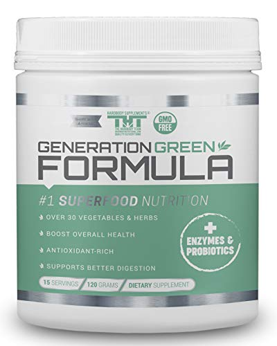 Generation Greens Powder | Best Organic Superfood Green Powder | 60 Powerful Super Foods (Spirulina,Chlorella, Wheat Grass), Probiotics, Enzymes |GMO Free