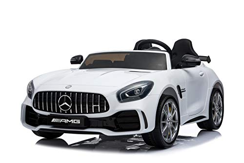 - First Drive Mercedes Benz GTR White 2 Seater - 12v Kids Cars - Dual Motor Electric Power Ride On Car with Remote, MP3, Aux Cord, Led Headlights and Rear Lights, and Premium Wheels