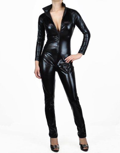 Nawty Fox Sexy Black Metallic Wet Look Fetish Full Bodysuit Catsuit Jumpsuit Costume-Reg Plus Size