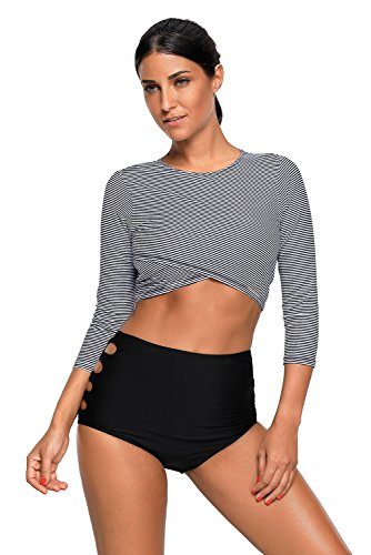 SherryDC Women's Long Sleeve Striped Crop Rash Guard Swimsuit Two Piece - Rash Piece Guard 2