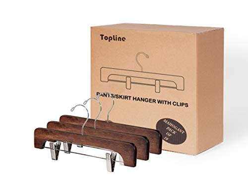 Topline Classic Wood Pants/Skirt Hanger with Adjustable Clips - Mahogany Finish (10 Pack)