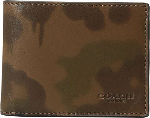 COACH  Men's Slim Billfold Wallet With Wild Beast Camo Print Surplus One - Coach Handbags Camouflage
