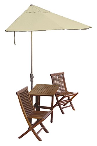 Blue Star Group Terrace Mates Villa Economy Table Set w/ 7.5'-Wide OFF-THE-WALL BRELLA - Antique Beige Sunbrella Canopy