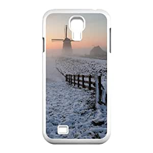 Okaycosama Funny Samsung Galaxy S4 Cases Foggy Winter Morning for Guys Design, Case for Samsung Galaxy S4 Mini for Girls, [White]