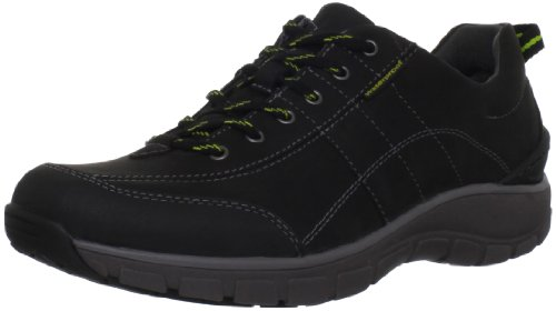 Clarks Women's Wave Trek Sneaker , Black Leather w/ Yellow Detail, 7.5 M US