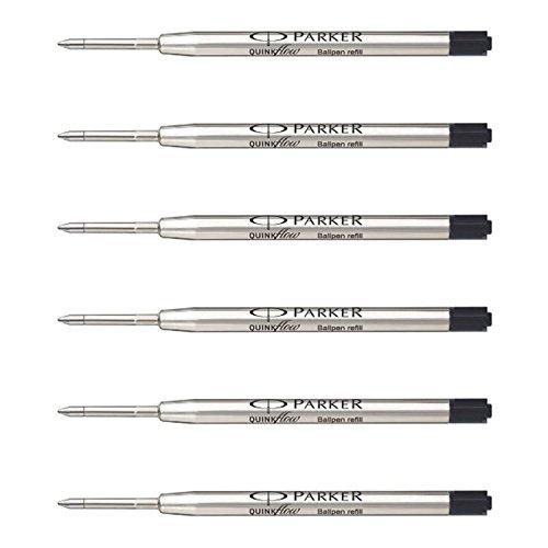 Black Fine Ballpoint Refill - Parker QuinkFlow Ink Refill for Ballpoint Pens, Fine Point, Black Pack of 6 Refills (1782467)