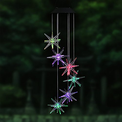 AceList Changing Color Meteor Solar Powered Mobile, Spiral Spinner Windchime Outdoor Windbell Light for Patio, Deck, Yard, Garden, Home, Pathway by AceList (Image #6)