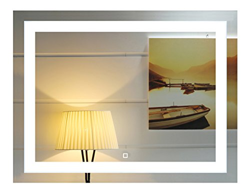 36x28 Inch Wall Mounted Led Lighted Bathroom Mirror with Touch Switch...