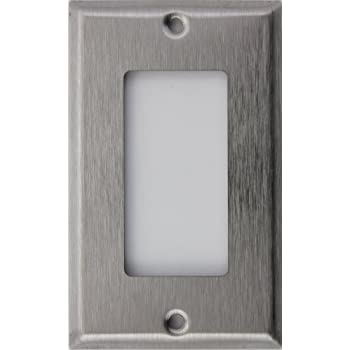 brushed satin stainless steel one gang gfirocker opening wall plate