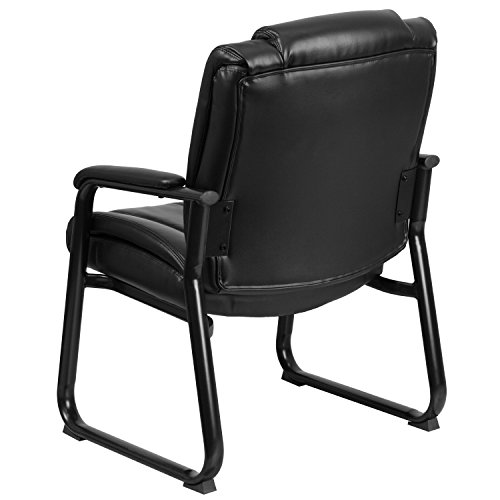 Flash Furniture HERCULES Series Big & Tall 500 lb. Rated Black Leather Executive Side Reception Chair with Sled Base by Flash Furniture (Image #2)