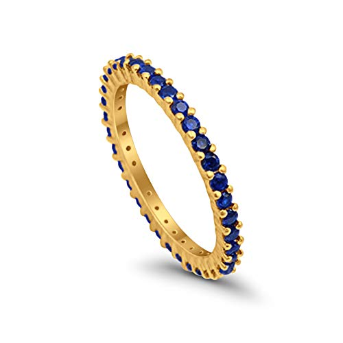2mm Full Eternity Wedding Ring Band Round Simulated Blue Sapphire Yellow Tone 925 Sterling Silver, Size - 6