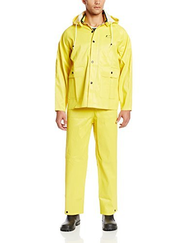 ONGUARD 76017 3-Piece PVC on Polyester Webtex Suit with Detachable Hood, Yellow, Size Medium