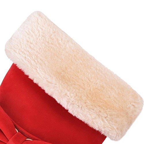 Red COOLCEPT Boots Half Zipper Women pBz7qBI