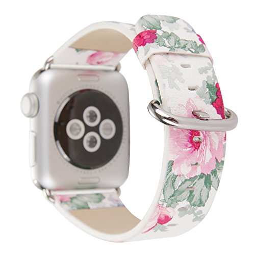 Rykimte Watch Band For Apple Watch iwatch Leather Strap Colorful Watercolour Wristband Bracelet Pattern Chromatic Replacement With Adapter For Woman Girls Lady ( Flower White D 38mm )