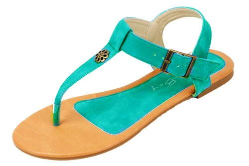 [New Starbay Brand Women's T-Strap Mint Gladiator Flats Sandals Size 9] (New Mint)
