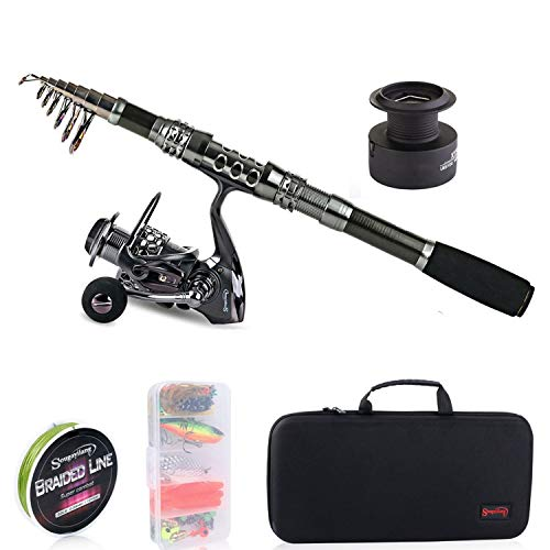 - ZZmeet Telescopic Fishing Rod with Spinning Reels Combos Fishing Reel Pole Lure Line Bag Sets Kit for Travel Fishing Tackle,1.8 m