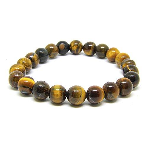 Turania Men Women Lava Rock 7 Chakras 8mm Bracelet Braided Rope Natural Stone Yoga Beads Bracelet (Multicolor Tiger Eye) -