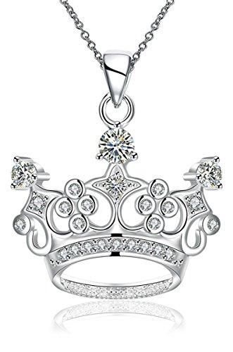 Godyce Plated Sterling Silver Queen Crown Pendant Necklace for Women Zircon Jewelry
