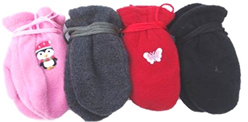 Four Pairs of One Size Very Warm Fleece Mittens for Infants Ages 0-6 Months by Gita