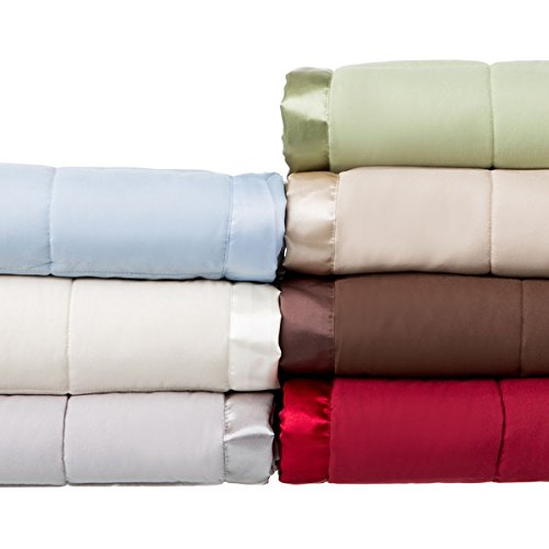 Solid Colored Microfiber Down Alternative-Filled Hypoallergenic Blanket with Satin Edging (King, sage) (Blankets Colored Down)