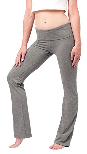 Hard Tail Foldover Bootcut Yoga Pants - Charcoal Heather (M, Heather)